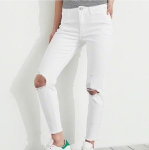Hollister white high rise super skinny crop jeans